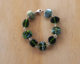 Recycled Glass Bead Bracelet with mixed beads - made from a Moet Champagne bottle.