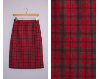 Vintage 1950's/60's Red Plaid Pencil Skirt S