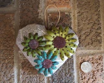 Recycled Art Heart with Flowers