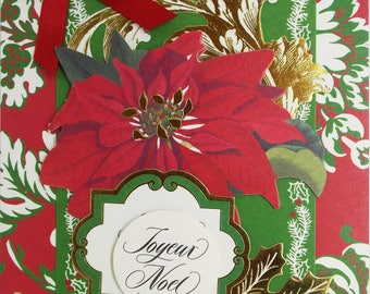 Joyeux Noel Poinsettia Christmas Card 2017