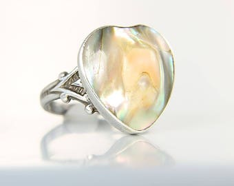 Antique Blister Pearl Ring, Art Deco Ring sterling Heart, size 6 1920s jewelry