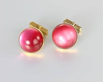 Pink Cufflinks, Moonglow Lucite Swank Cufflinks vintage mens Jewelry Accessories