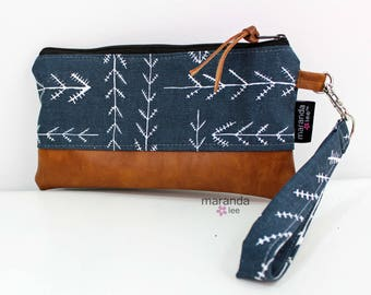 Flat Clutch - Native Blue READY to SHIp Bridesmaid Gift Wallet Cosmetic Bag