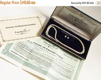 ON SALE Cultured Pearl Necklace Earrings 10k White Gold Clasp, 1960s, Original Box, Guarantee