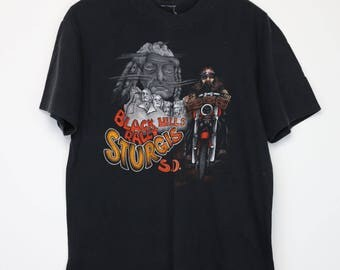 Harley Davidson Shirt Vintage tshirt 1980s Black Hills Sturgis Motorcycle Rally Tee Bikers Live to Ride Hog 1073 Main Street South Dakota