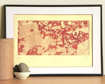 Original Etching Abstract Floral Aquatint Printmaking FLOATING FOAM Poetic Botanical Home Decor Etching Print Hand Pulled 14x9