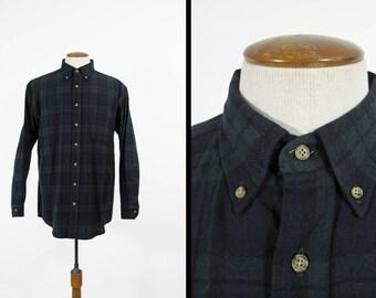 Vintage Pendleton Plaid Shirt Green Black Watch Tartan Wool Button Collar Made in USA - Large