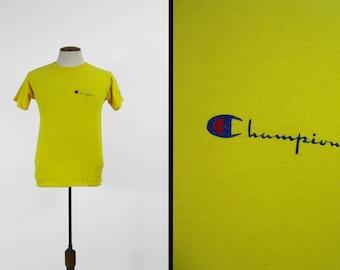 Vintage 80s Champion T-shirt Cotton Yellow Crewneck Made in USA - Medium