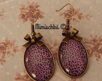 boucles d'oreilles léopard violet