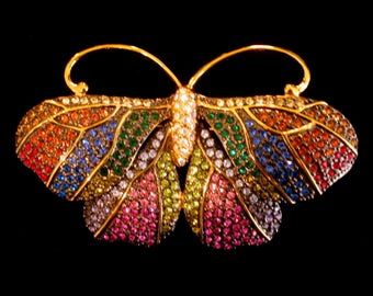 JOAN RIVERS BUTTERFLY Pin Brooch Rainbow Pave