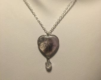 Heart shaped amethyst and faceted amethyst pendant and earrings sterling silver