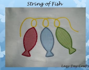 String of Fish - Short Sleeve Appliqued Tshirt - Infant and Toddler Size Tshirt - 6 months to 5/6