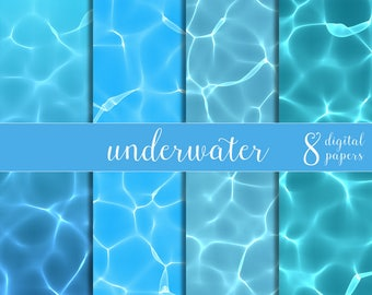 seawater papers, underwater papers, water digital papers, water caustics, water reflections clip art, digital water papers, DIGITAL DOWNLOAD