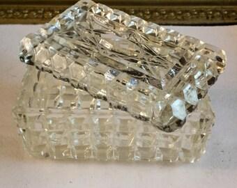 Vintage Pressed Glass Waffle Block Pattern Trinket or Powder Box