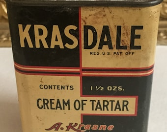 A. Krasne Krasdale Cream of Tartar Metal Spice Tin