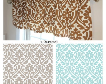 Curtain Valance Topper Window Treatment 52x15 Caramel Floral Canal Ecru Holly Home Decor