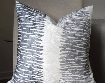 SPRING FORWARD SALE Velvet Textured Grey Charcoal Ivory Design Modern Couch Pillow Covers Home Decor by HomeLiving Size 18x18