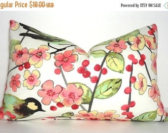 SPRING FORWARD SALE Pink Green Ivory Bird Floral Leaves Lumbar Pillow Cover Decor by HomeLiving Size 12x18