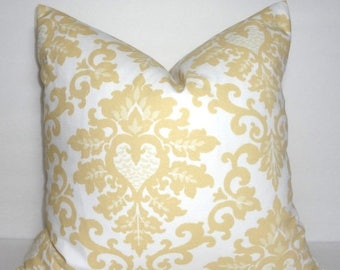 SPRING FORWARD SALE Decorative Pillow Saffron Yellow and White Damask Floral Pillow Covers Cecilia Premier Prints All Sizes