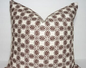 SPRING FORWARD SALE Annie Selke Tala Chocolate Geometric Pillow Cover Decorative Throw Pillow 18x18