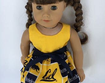 18 inch doll dress made of University of California Berkley Golden Bears fabric, made to fit 18 inch dolls such as American Girl and others