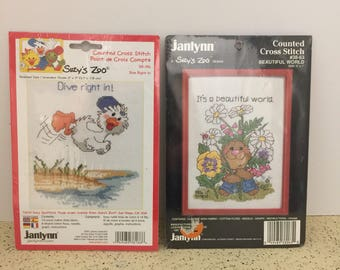 """Lot of 2 Jannlyn Suzy's Zoo Counted Cross Stitch Kits """"Beautiful World"""" and """"Dive Right In"""""""