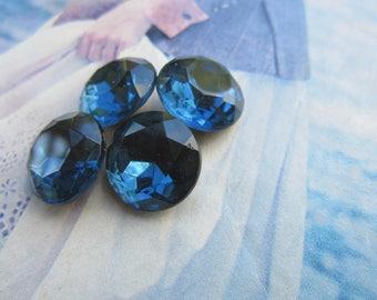 Czech Vintage Montana Sapphire Blue 60SS Glass Gems  Doublet 4Pcs