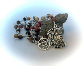"Owl and Pentagram Witches Ladder Gemstone Witches Ladder Wiccan ""Spell Casting"" Wire Wrapped"