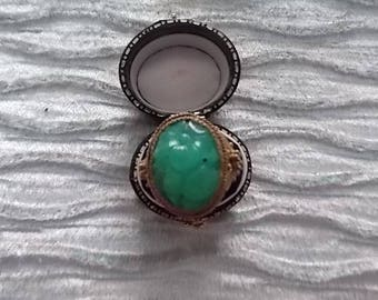 Vintage Gold Jade Chinese  Adjustable Ring WOW