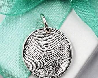 Thumbprint Necklace, Fingerprint Jewelry, Thumbprint Jewelry, Silver Fingerprint Necklace, Keepsake Fingerprint Charm, Fingerprint