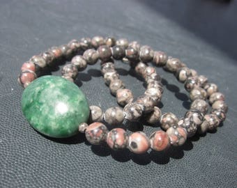 green Jadeite and fossil Jasper Necklace