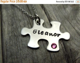 SALE Puzzle piece Name necklace with birthstone crystal, personalized mothers necklace