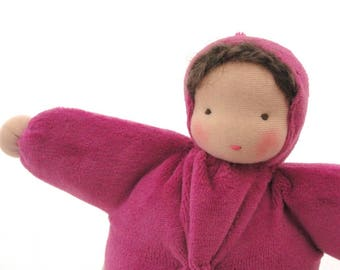 Waldorf doll ecofriendly toy natural fiber pink bunting baby waldorf toy cuddle doll BC1