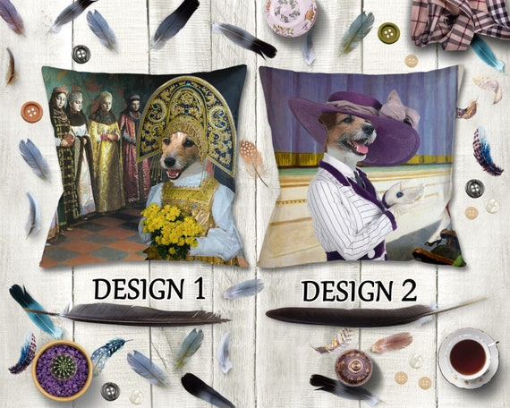 Parson Russell Terrier Pillow/Jack Russell Terrier Pillow/Terrier Portrait/Terrier Art/Personalized Dog Pillow/Custom Dog Portrait