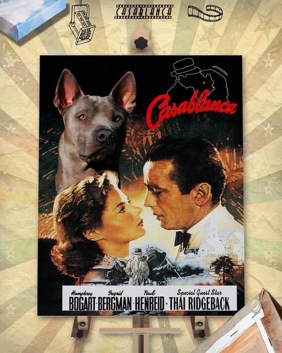 Thai Ridgeback Dog Art Casablanca Movie Poster Print stars Humphrey Bogart Ingrid Bergman Dog Portrait from Photo best selling home decor
