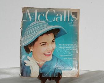 Vintage 50's McCall's Magazine with Old Ads , Stories , Recipes , Fashion , Magazine Ephemera , Old Periodical