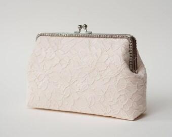 Blush Pink Alencon Lace Clutch / Bridal Clutch Purse / Bridemaid Clutch / Wedding clutch / Monogram Purse