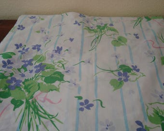 Bouquets Of Violets Full Flat Sheet Fabric - Vintage - Shabby Cottage Chic - French Cottage - Girls Room Guest Room - Purple Lavender Green