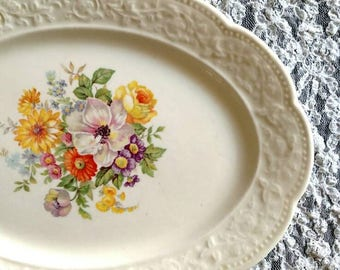 Shabby Chic Floral Plate Wall Set of 4