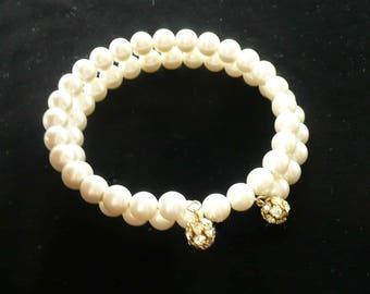 Pearl & Rhinestone Wrap Bracelet White Vintage 60s