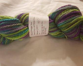 "Soft luxurious Pacormo alpaca, cormo, sparkle yarn, worsted weight ""goblin"" chartreuse, purple, pink, aqua grey 200yds"