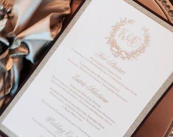 Reserved Gold Foil Letterpress Wedding Menu Cards, antique, vintage, wreath, monogram, fleur de lis, ornate, elegant