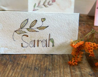 Whimsical Garden Party Placecards - Hand painted and lettered - Set of 12 - Watercolored papers