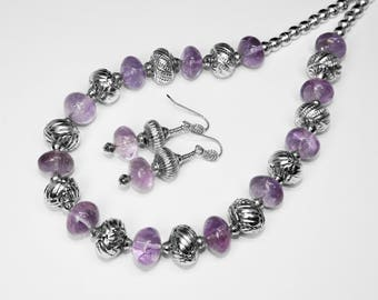 """Amethyst and Egyptian Silver Necklace and Earring Set in Silver, 20"""""""