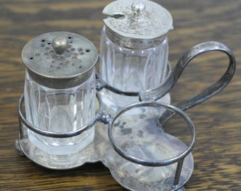 antique silver plate and glass cruit set