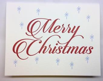 Merry Christmas Blue Sparkles