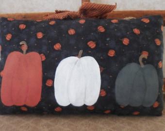 Primitive Fall Pumpkin Patch Wall Hanging Pillow Tuck Folk Art Home Decor