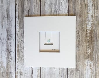 Original Pebble Art 5 by 5 Mini unframed Pebble Picture by Sharon Nowlan, matted sea glass and pebble art, optional framing available