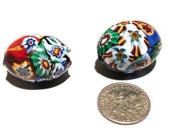Pair of Vintage Venetian Millefiori Multi-Murine African Glass Trade Beads