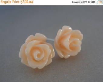 SALE Peach Earrings, Soft Peach, Light Peach, Peach Jewelry, Wedding, Rose Earrings, Flower Earrings, Bridesmaid Earrings, Bridesmaid Gifts